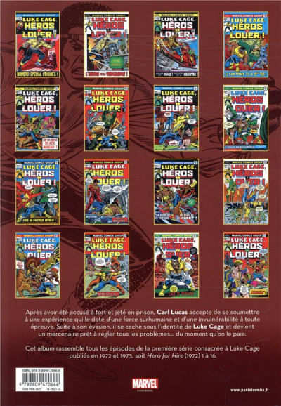 Dos Luke Cage - intégrale tome 1 - 1972-1973