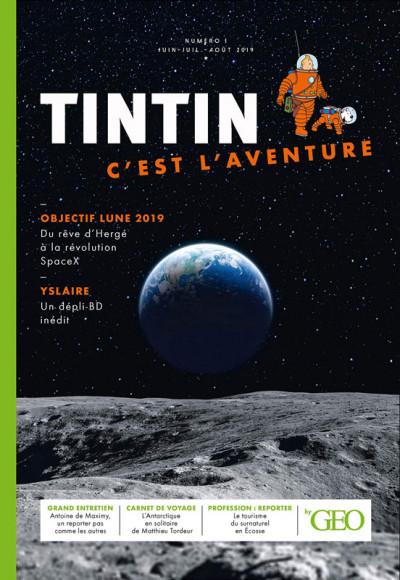 Couverture Tintin c'est l'aventure tome 1 - Objectif lune 2019