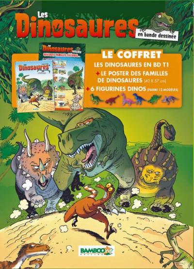 Couverture les dinosaures en BD - coffret tome 1