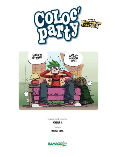 Page 1 coloc'party tome 1 - bienvenue chez toi !