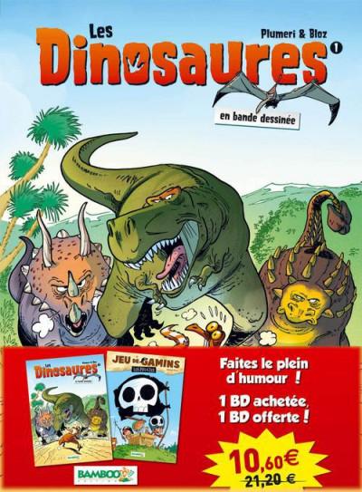 Couverture Pack les dinosaures tome 1 + jeu de gamins tome 1
