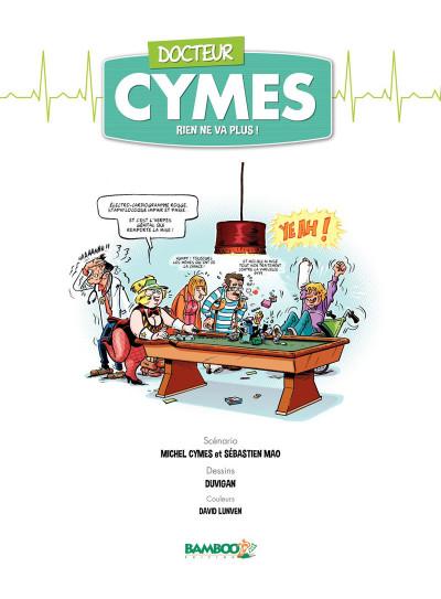 Page 1 Docteur Cymes tome 2 - Rien ne va plus…