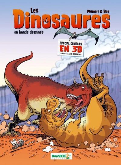Couverture Les dinosaures en BD - Les combats en 3D