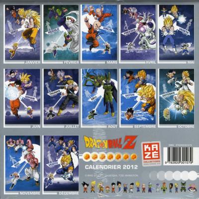 Dos dragon ball z calendrier 2012