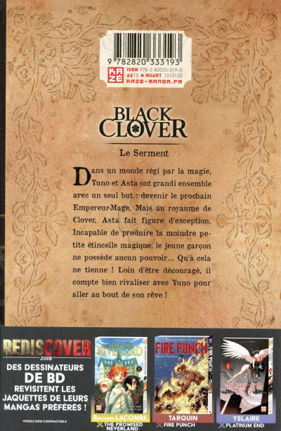 Dos Black Clover tome 1 - Variant cover Patrick Sobral