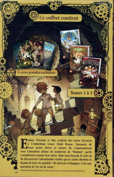 Dos The promised neverland - coffret tomes 1 à 3