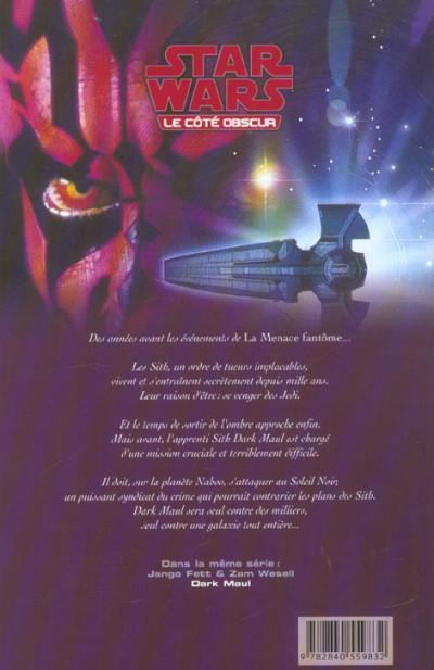 Dos star wars - le cote obscur tome 2 - darth maul (cartonné)