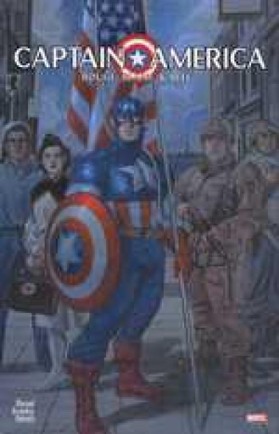 Couverture captain america ; graphic novels ; rouge, blanc et bleu