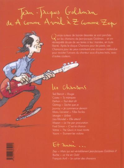 Dos Jean-Jacques Goldman ; Chansons pour les yeux