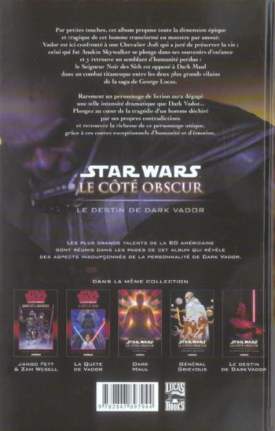 Dos star wars - le cote obscur tome 5 - le destin de dark vador