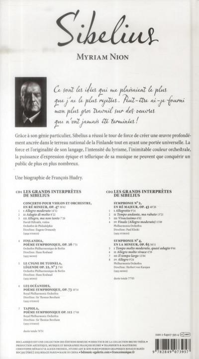 Dos Sibelius ; biographie de Sibelius par François Hudry