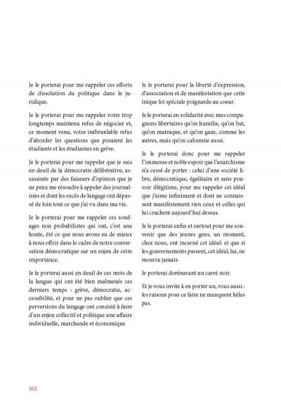 Page 6 je me souviendrai ; 2012 ; mouvement social au Québec