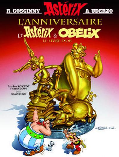 Couverture astérix tome 34 - l'anniversaire d'astérix et obélix - le livre d'or