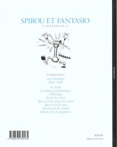 Dos Spirou et Fantasio - intégrale niffle tome 1
