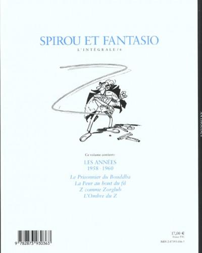 Dos Spirou et Fantasio - intégrale Niffle tome 6