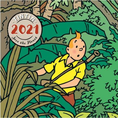 Couverture Petit calendrier à poser Tintin 2021 - Save the planet