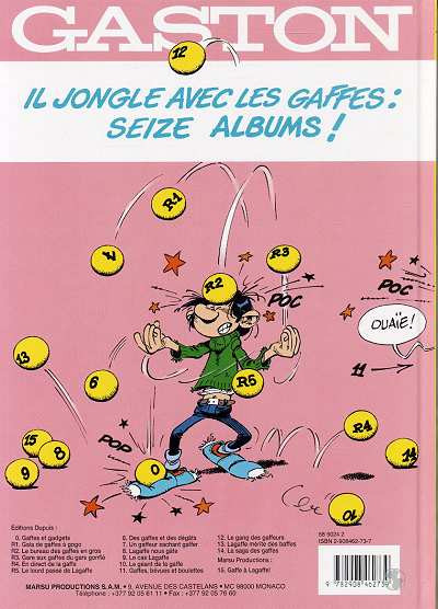Dos Gaston Lagaffe tome 15 - gaffe à lagaffe