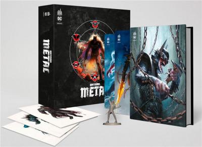 Couverture Batman metal - coffret 3 tomes avec figurine et 3 ex-libris
