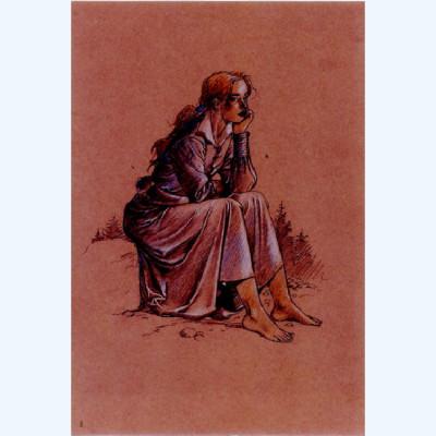 Page R Affiche Ariane sur un rocher ; Juillard ; 20x30
