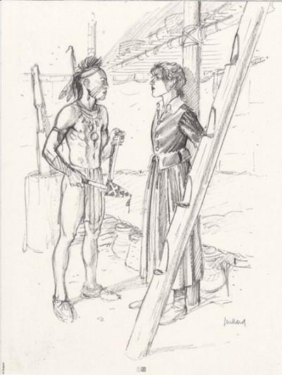 Page R Affiche Crayonné Indien + Arianne ; Juillard ; Signée  ; 30x40
