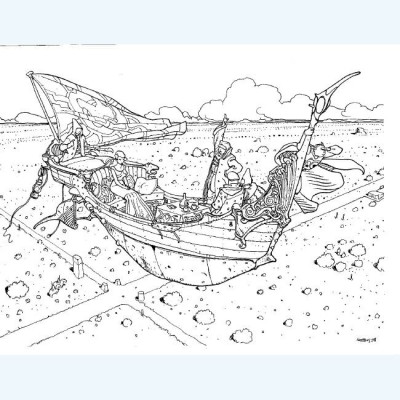 Page O Sérigraphie Gondole ; Moebius ; Signée ; 45x64