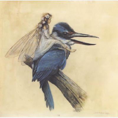Page I Affiche Fée sur l'oiseau bleu ; Monge ; 50x50