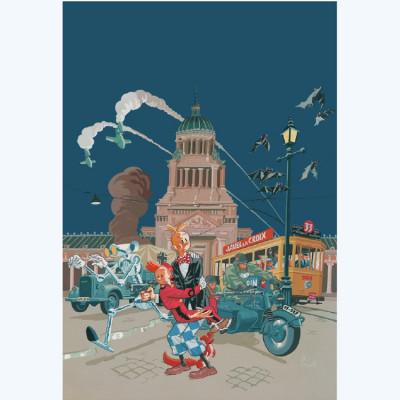 Page P Affiche Spirou le Groom vert ; gris ; Schwartz ; Yann ; 50x70
