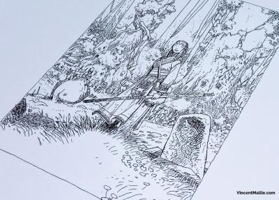 Page 1 Prêtresse des bois – Estampe numérique