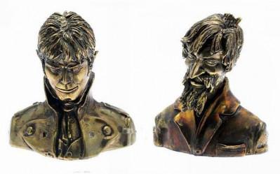 Page e Bustes Corto Maltese et Raspoutine - statuettes Bronze - limité à 75 exemplaires