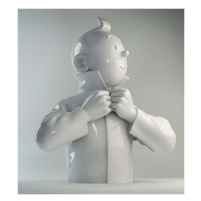 Page l buste porcelaine - Tintin ferme son col brillant