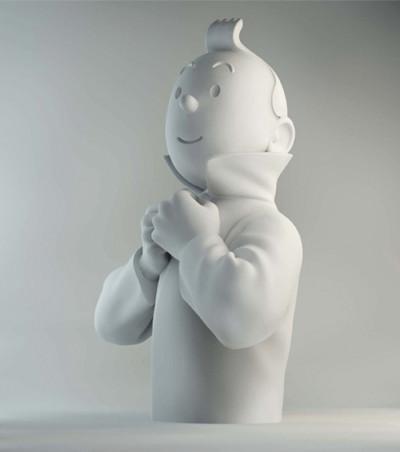Page t buste porcelaine - Tintin ferme son col mat