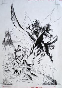 Dessin original de Ciro Tota - couverture Titan 139 aout 1990 - encre, 29cmx21cm