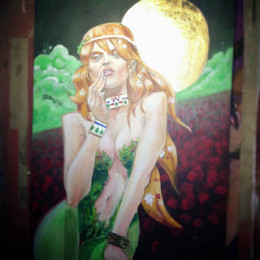 Dessin original de Kieran - Poison Ivy - Acrylique feuille Or sur carton - 60cmx40cm