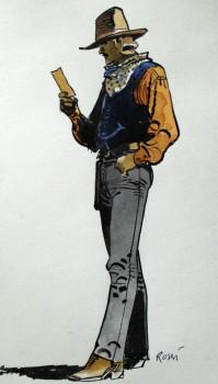 Dessin original - Jim Cutlass par Rossi - dessin couleurs directes, 19cmx11cm