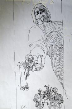 Dessin original de Rossi - Morton Chapel, recherche du 4eme de couverture tome 5 West - encre, papier, 29cmx21cm