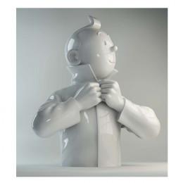 buste porcelaine - Tintin ferme son col brillant