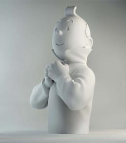 buste porcelaine - Tintin ferme son col mat